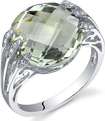 Cushion Cut Prasiolite Green Amethyst Sterling Silver Ring size 8