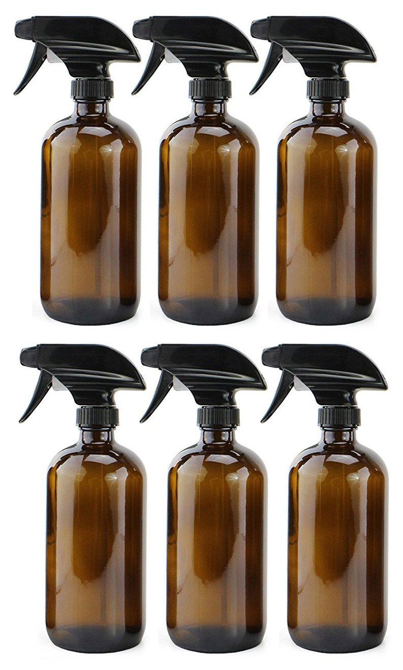 018eaa586a00 16oz Amber Glass Spray Bottles (6 Pack), Boston Round Bottles W/Heavy Duty  Mist and Stream...