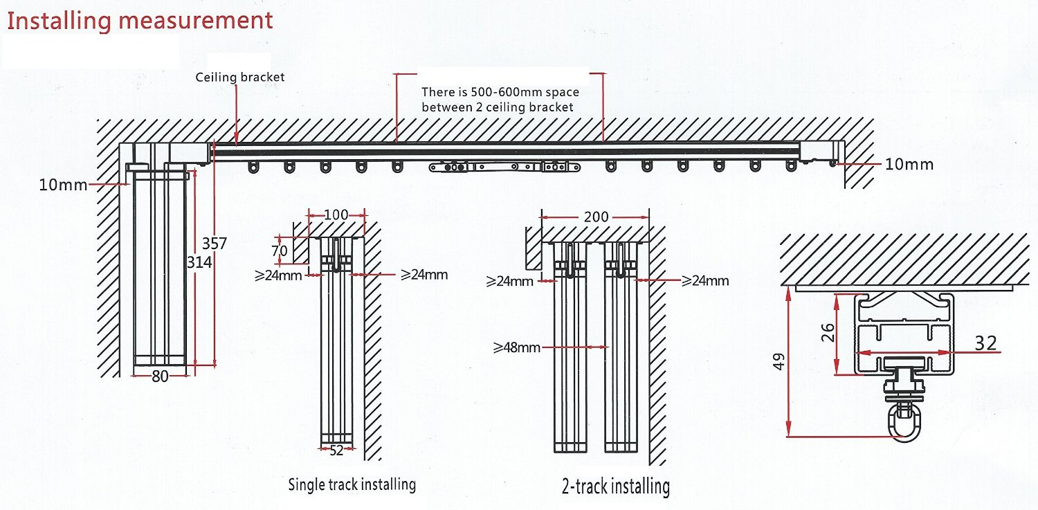 Electric Remote Controlled Drapery System W/10' Track Center Opening & Wall Mount Brackets CL-920A by Curtain Call by Curtain Call (Image #4)