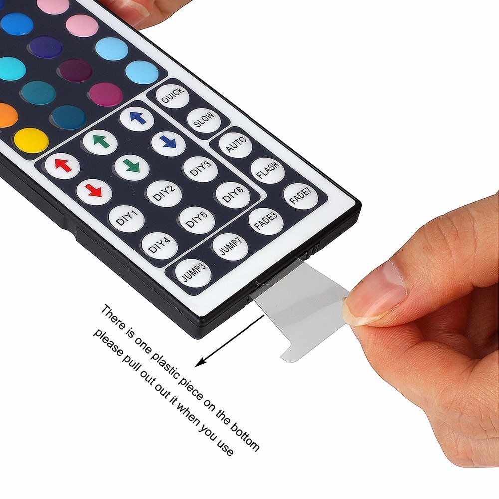 SUPERNIGHT 5M/16.4 Ft SMD 3528 RGB 300 LED Color Changing Kit with Flexible Strip Light+44 Key IR Remote Control+ Power Supply by SUPERNIGHT (Image #6)