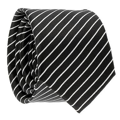 cravateSlim Corbata Estrecha de Rayas finas Negra y Blanca: Amazon ...