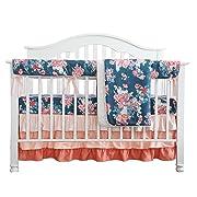 Coral Navy Floral Baby Crib Bedding Set Minky Blanket Crib Rail Cover Peach Navy Floral Girl Crib Set Floral Ruffled Crib Skirt (4 pcs Set)