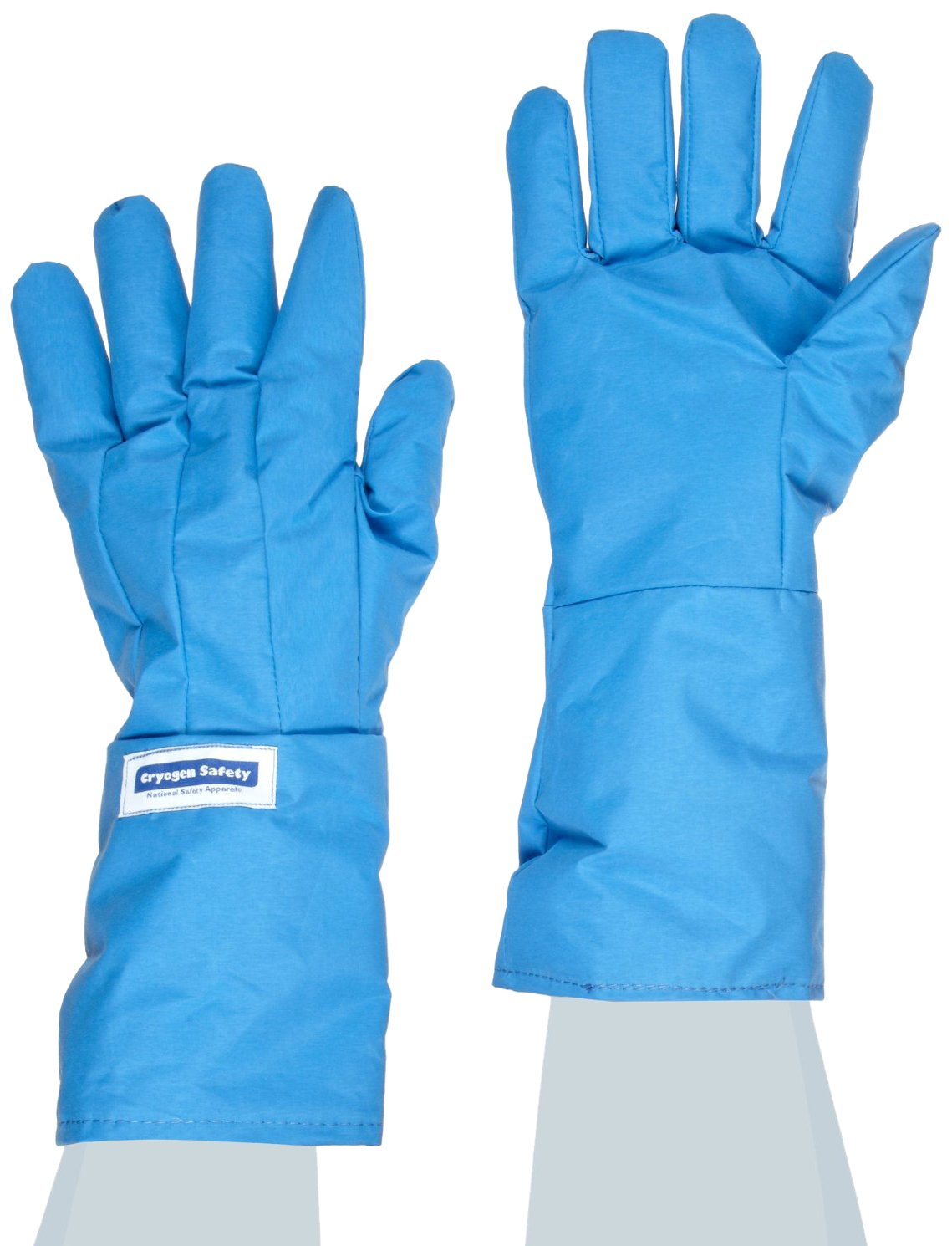 National Safety Apparel G99CRBERSMMA Nylon Taslan and PTFE Mid-Arm Standard Water Resistant Safety Glove, Cryogenic, 14'' - 15'' Length, Small, Blue