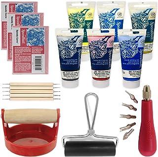 Ultimate Block Printing Set - 6X Speedball Water-Soluble Block Printing Inks, Red Baron Baren, Lino Cutter, 5 Embossing Pen Tools, 4-Inch Brayer, 3 Carve Blocks