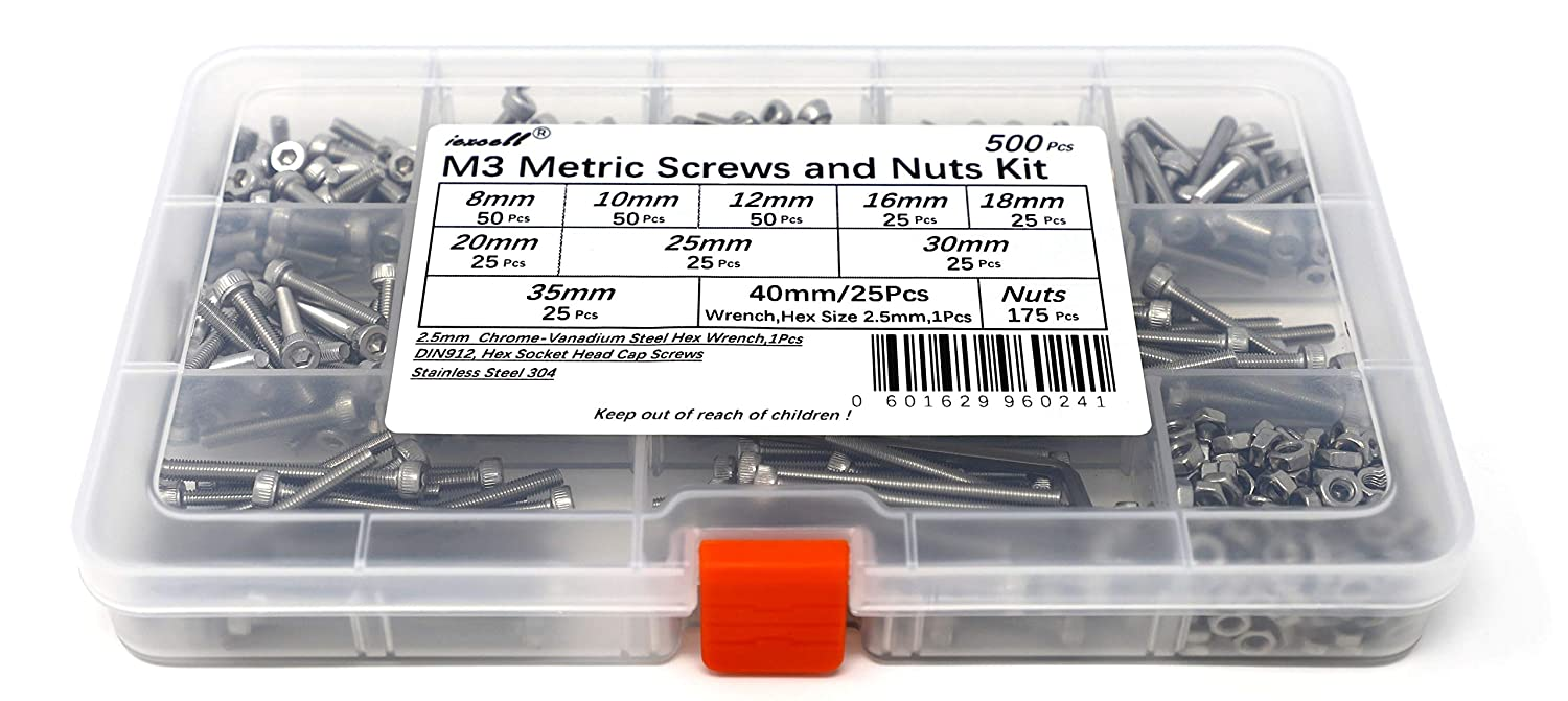 iExcell 500 Pcs Metric M3 DIN912 Stainless Steel 304 Hex Socket Head Cap Screws Nuts and Hex Key Wrench Kit
