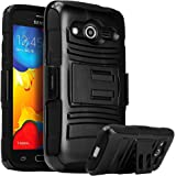Galaxy Prevail LTE Case,Galaxy Core Prime Case, Nagebee Heavy Duty Hybrid Armor Dual Layer Rhino Kickstand Belt Clip Holster Combo Rugged Case for Samsung Galaxy Prevail LTE ,Samsung Galaxy Core Prime (Holster Combo Black)