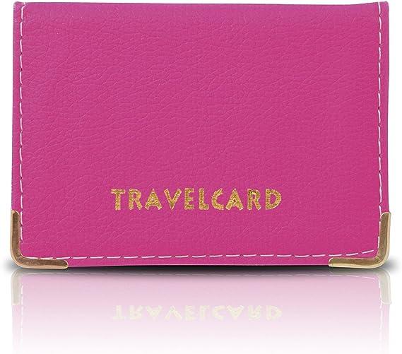 Rose Vif Cuir Souple Carte De Transport Passe Bus Carte De Cr/édit ID Portefeuille Porte-cartes Cache Bo/îte Support