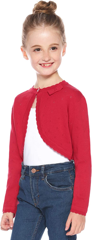 Hawiton Girl Cotton Cardigan Sweater Kids Girl Long Sleeve Knit Shrug Button Down Bolero Sweater Coat Tops Jackets
