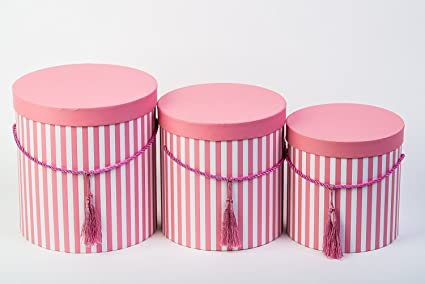 Decorpro Set Of 3 Round Storage Boxes With Lid Stripe In Purple