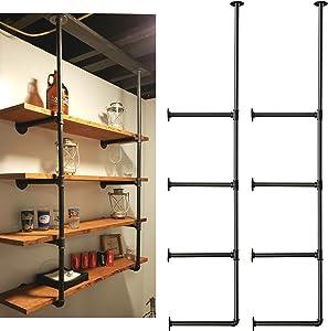 WLIVE Industrial Wall Mount Iron Pipe Shelf Bracket, 4 Tier 2pcs 56''Tall and 12''Deep Shelving Unit, Vintage Retro Black DIY Open Bookshelf, Storage Shelves, Display Rack for Home Kitchen Office