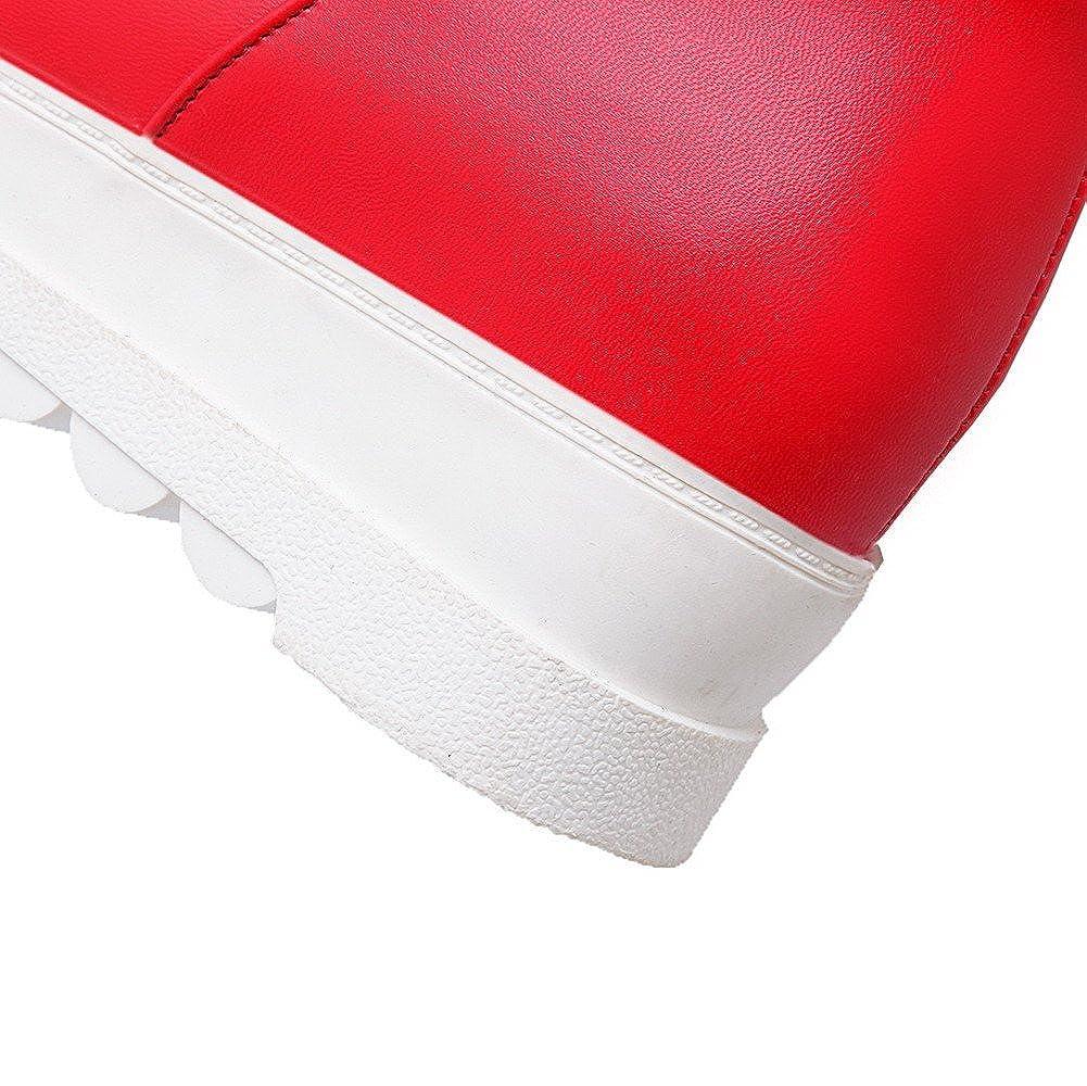 AmoonyFashion Women's Low-Heels Round Closed Toe Blend Materials Boots Mid-Calf Boots Materials B01C5DU18A Boots 79f99e