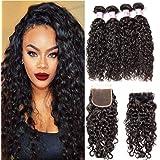 Beauty Forever Brazilian Water Wave Human Hair Bundles With Closure 7A Grade 100% Brazilian Virgin Hair 3 Bundles With Lace C