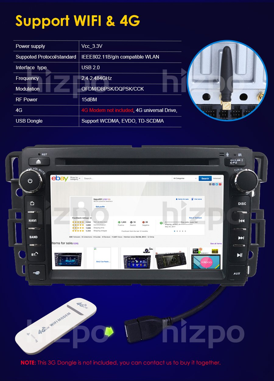 Android 7.1 Car Stereo DVD Player For GMC Chevy Silverado 1500 2012 GMC Sierra 2011 2010 7 inch Quad Core Double Din In Dash Touchscreen FM/AM Radio Receiver Navigation Bluetooth with Backup Camera by HIZPO (Image #5)