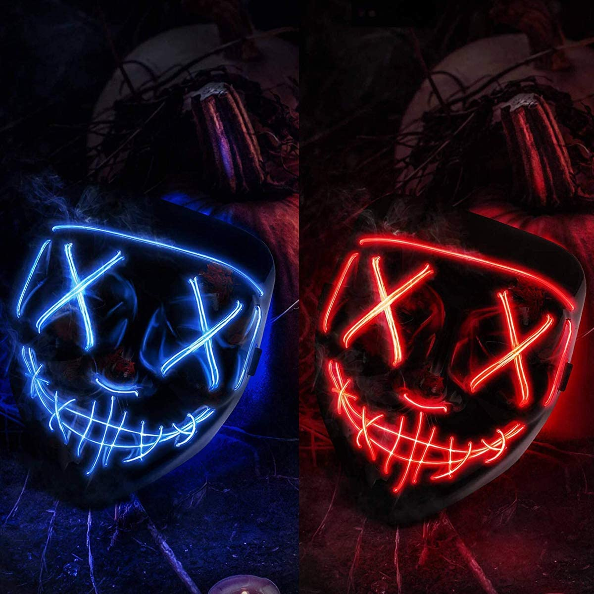 2 Pack Halloween Mask LED Light up Mask Scary mask for Festival Cosplay Halloween Costume Masquerade Parties,Carnival