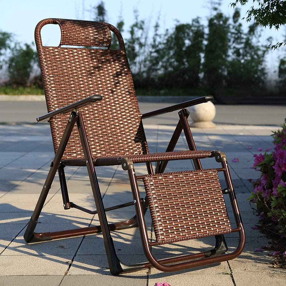 NPZ* PE rattan summer riding chair outdoor portable folding chair home chair office lunch break chair, 2 styles lounge chair (Color : A) A