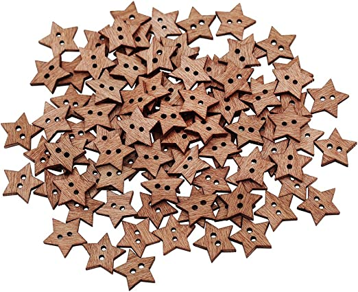 BQLZR 13mm Length 2 Holes Wooden Five-Pointed Star Shape Craft Buttons Pack of 100