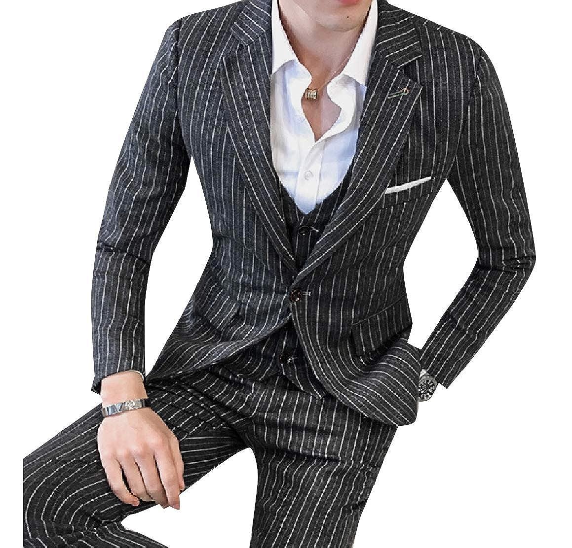 RomantcMen 3 Pieces Plus Size Classics Striped Suit Jacket Blazer