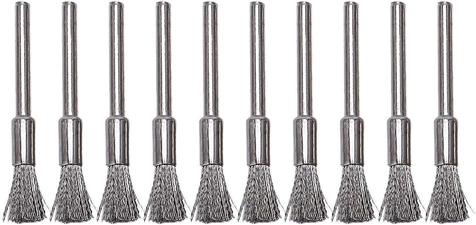 10 x Stiftform 5MM Bürsten 3MM Schaftdurchmesser Scheibenbürste Drahtbürste