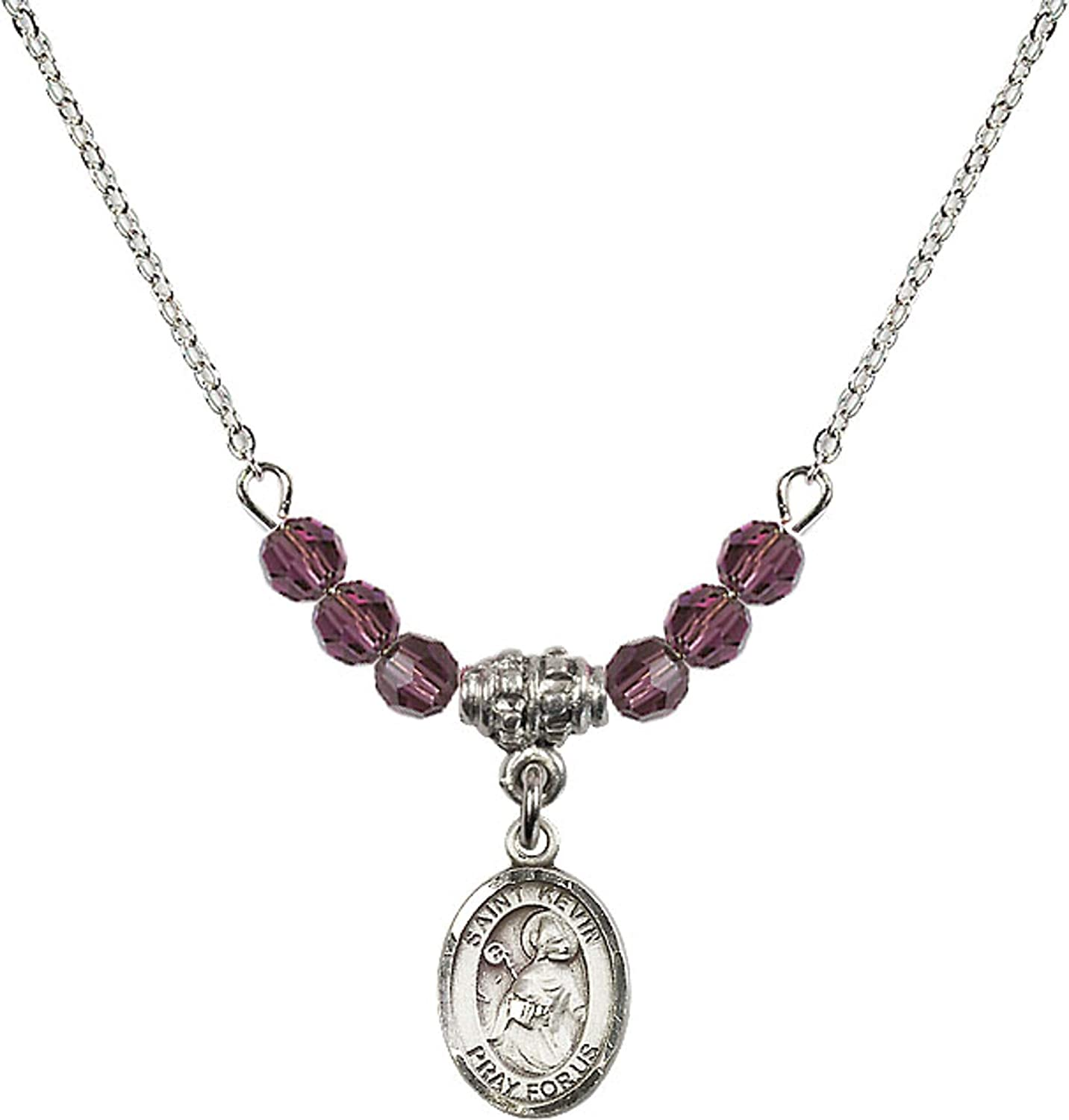 Bonyak Jewelry 18 Inch Rhodium Plated Necklace w// 4mm Purple February Birth Month Stone Beads and Saint Kevin Charm