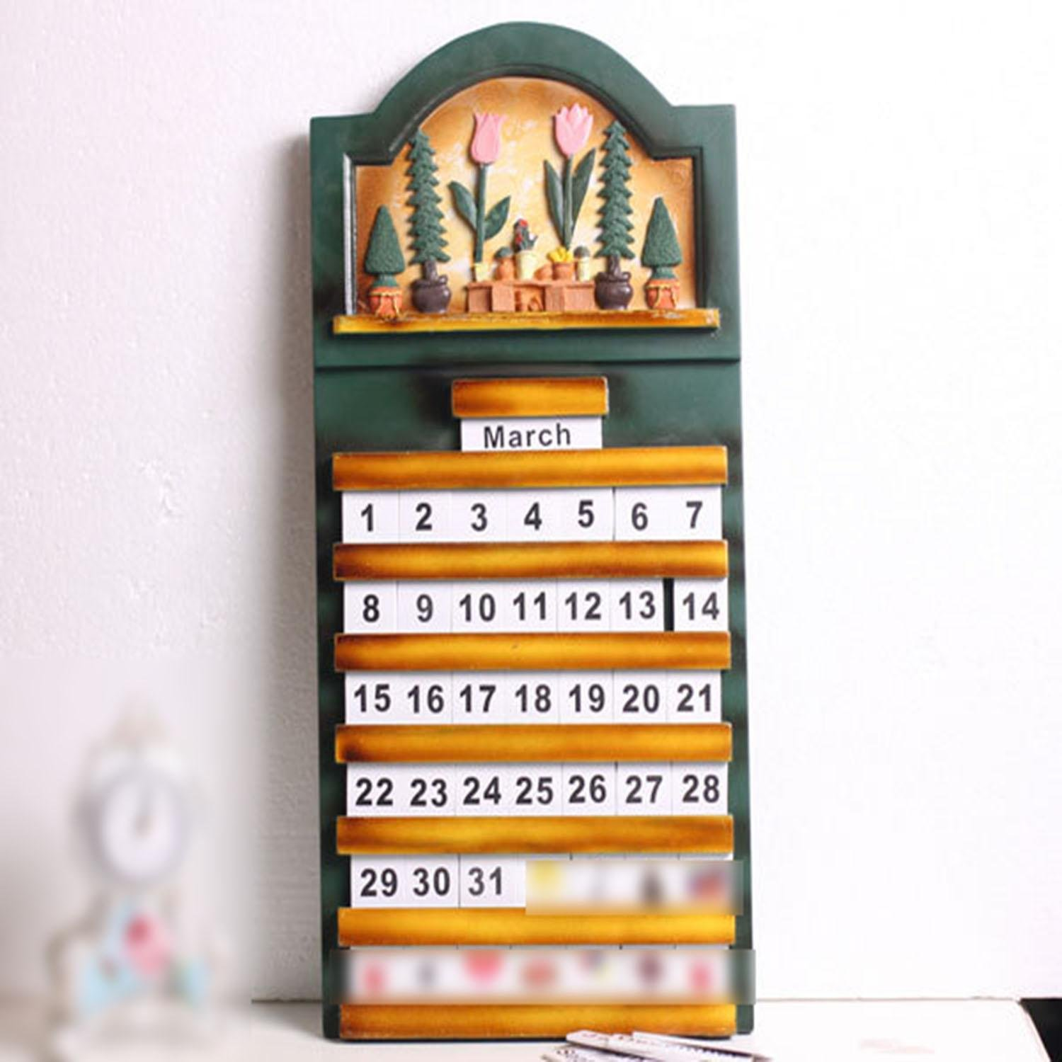 OOFYHOME Wall ornaments, American style retro calendar, mobile, personalized calendar, creative wall ornaments, home decoration , 5528 cm