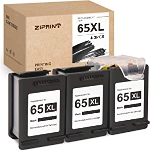 ZIPRINT Remanufactured Ink Cartridge Replacement for HP 65 65XL ECO-Saver for Deskjet 3755 3752 2655 2652 2622 3758 2624 3720 2635 3722 Envy 5055 5052 5010 5020 5030 (3 Black)