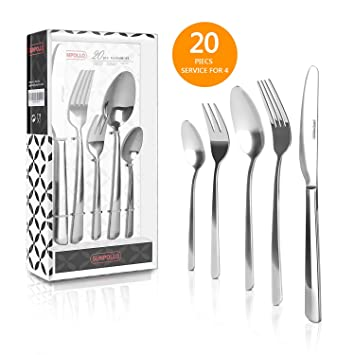 20 Pieces Flatware Sets, Stainless Steel Silverware Sets Mirror Polished  Cutlery Sets,Gift Box