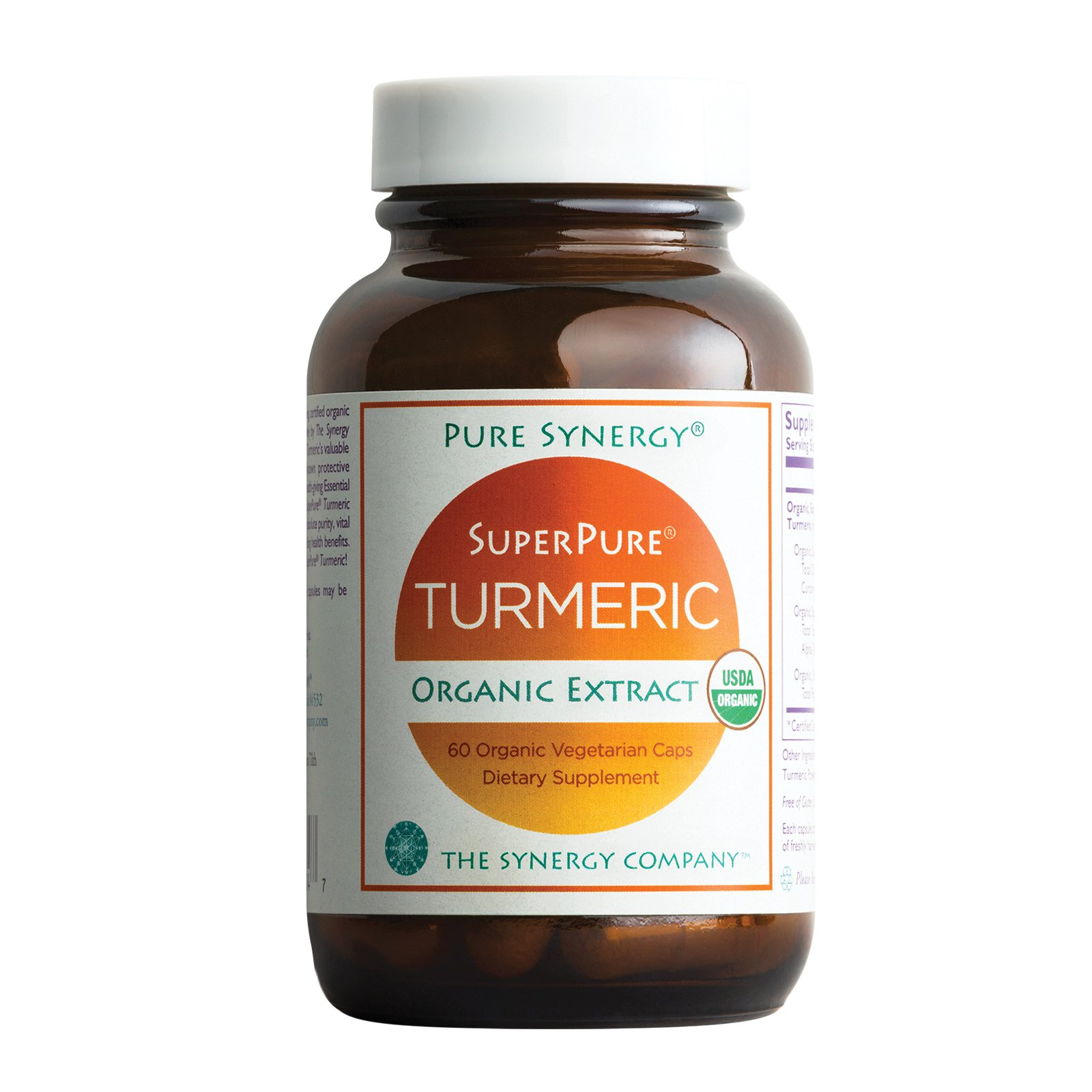 Pure Synergy USDA Organic SuperPure Turmeric Extract (60 Capsules) Triple Extract w/ Curcumin, Turmerones