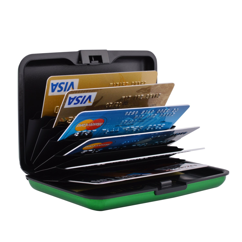 MaxGear RFIDブロックウォレット クレジットカードホルダー クレジットカード財布 本革ウォレット B075CZBNTS Luggage-card-case-matte-green Luggage-card-case-matte-green