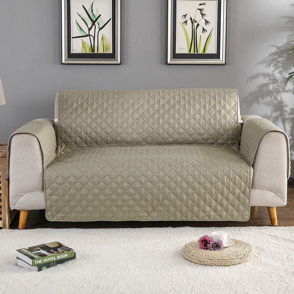 iisutas Improved Non-Slip Couch Covers, Quilted Pet Dog Sofa Slipcovers Living Room Furniture Protectors (Khaki, Chair)