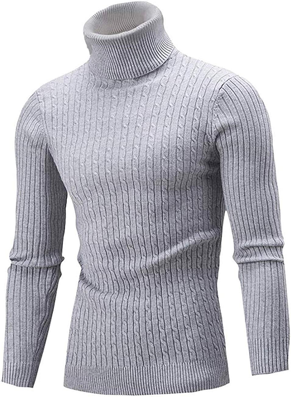 Belovecol Mens Jumpers High Roll Neck Knit Sweater Slim Fit Warm Turtleneck Pullover