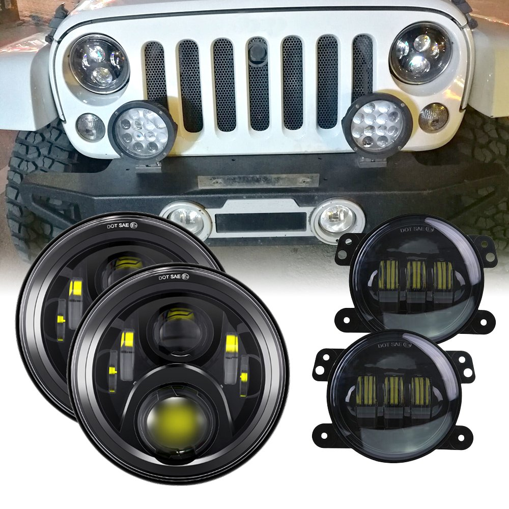 7 inch LED Headlights DOT 4 inch Fog Lights Bulbs Set Kit Projector 6000K for Jeep Wrangler JK LJ JKU TJ CJ Sahara Rubicon Freedom Dragon Edition Unlimited Hard Rock Sport Headlamps Lights Lamps Black by TRUCKMALL