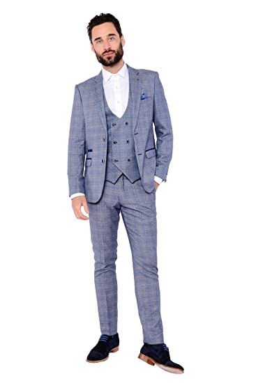 9551f5787a9d Marc Darcy Mens 3 Piece Slim Fit Blue Check Print Tweed Inspired Casual  Business Wedding Suit Formal Blazer, Double Breasted Waistcoat and Trousers  34-52 ...