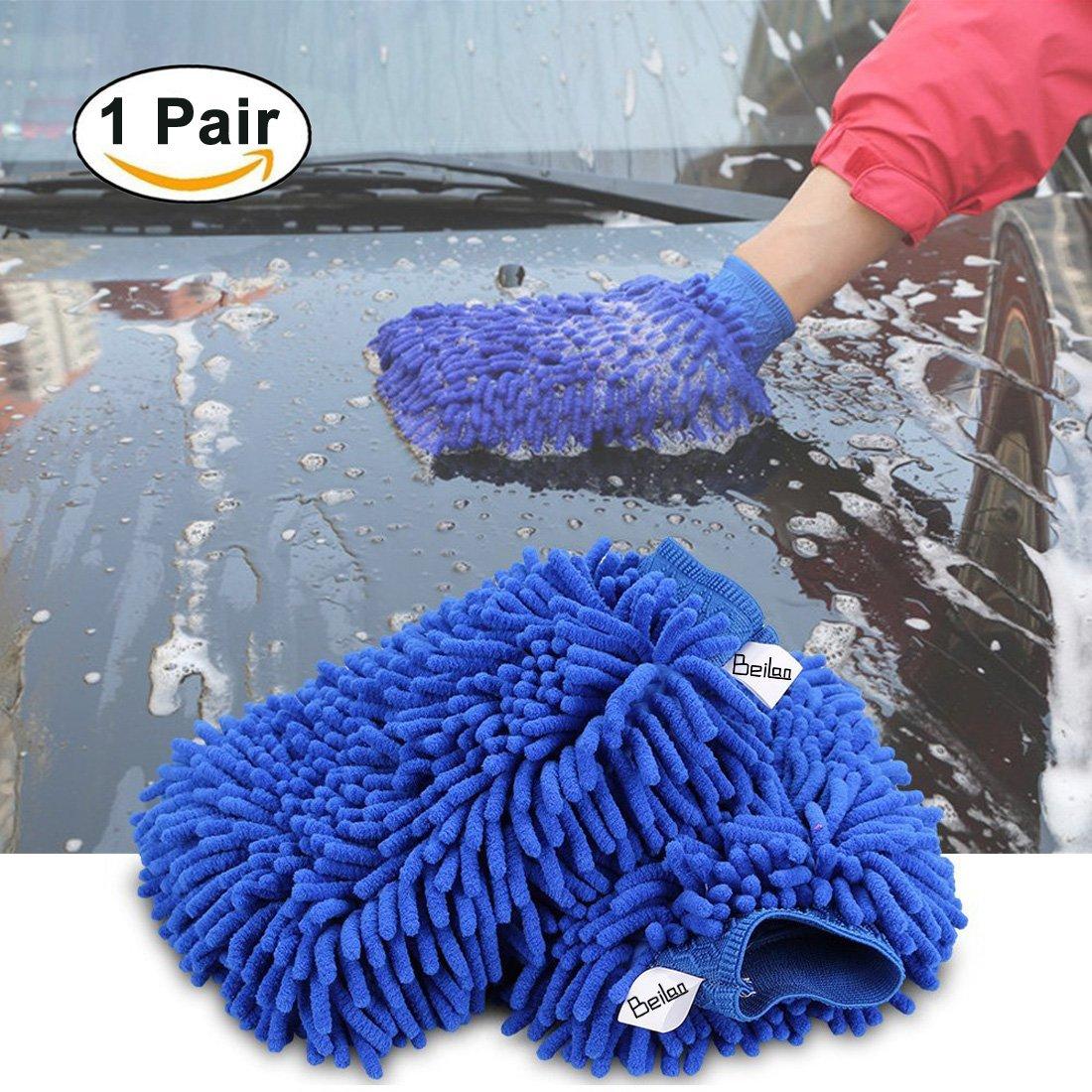 1 paire Mitt de lavage de voiture Chenille Microfibre Nettoyant Mitt Gloves Haute densité Ultra doux Gant de lavage, Lint Free, Scratch gratuit, Utilisé Mouillé ou Sec - Bleu, Taille Réguliè