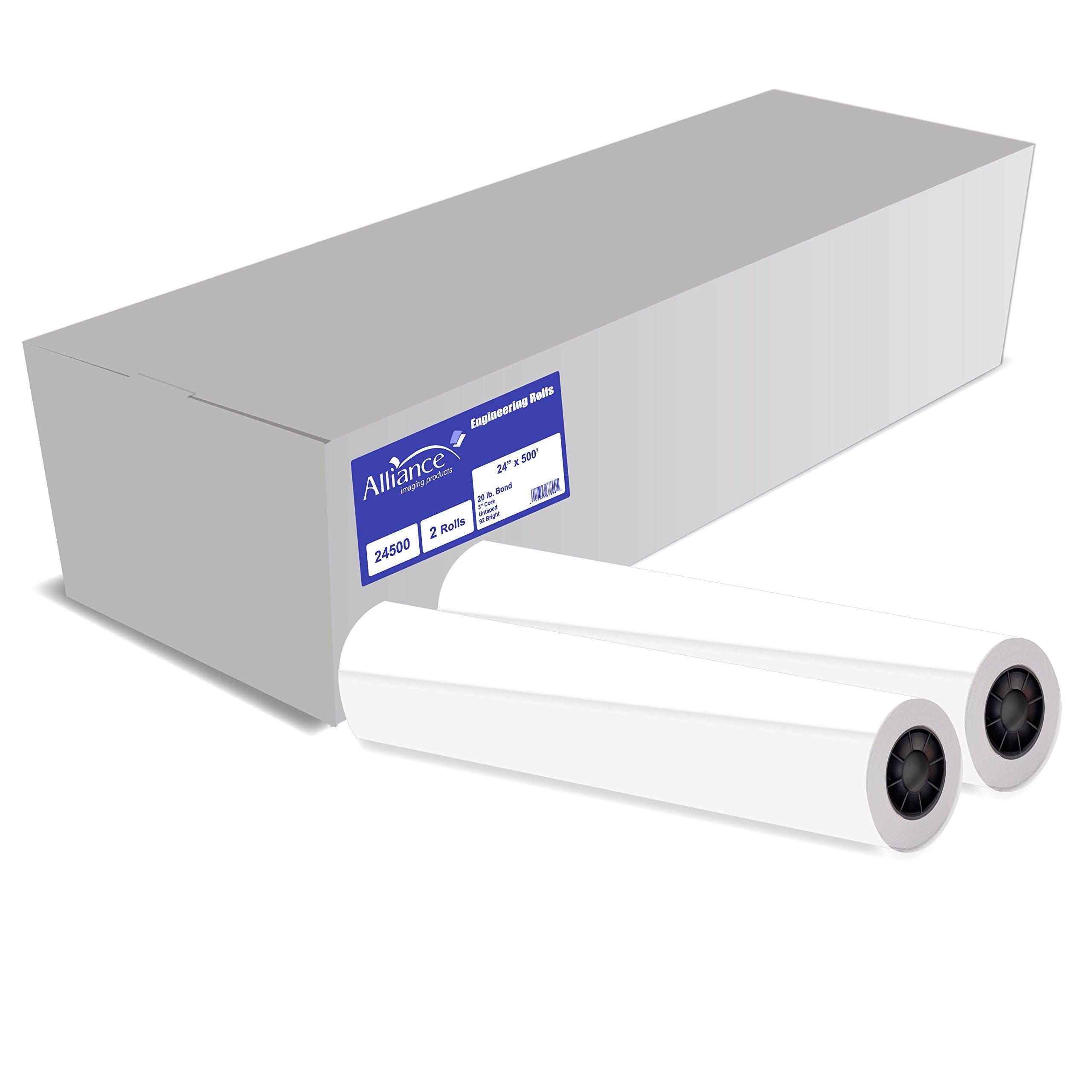 Alliance Untaped CAD Paper Rolls, 24'' x 500', 92 Bright, Ink Jet Bond, Engineering - 2 Rolls Per Carton, 3 Inch Core