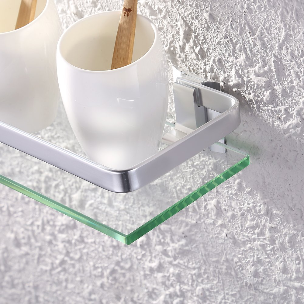 Essentials Wall-Mounted Aluminum and Glass Bath Organizer Shelf UMI.