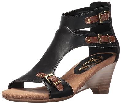 Aerosoles A2 Womens Mayflower Wedge Sandal Black Combo