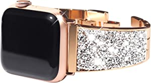 Surace Compatible with Apple Watch Bands 44mm Women Bracelet, Bling Crystals Diamond Cuff Replacement for Apple Watch Bands 42mm Compatible with Apple Watch SE Series 6 Series 5 Series 4, Rose Gold