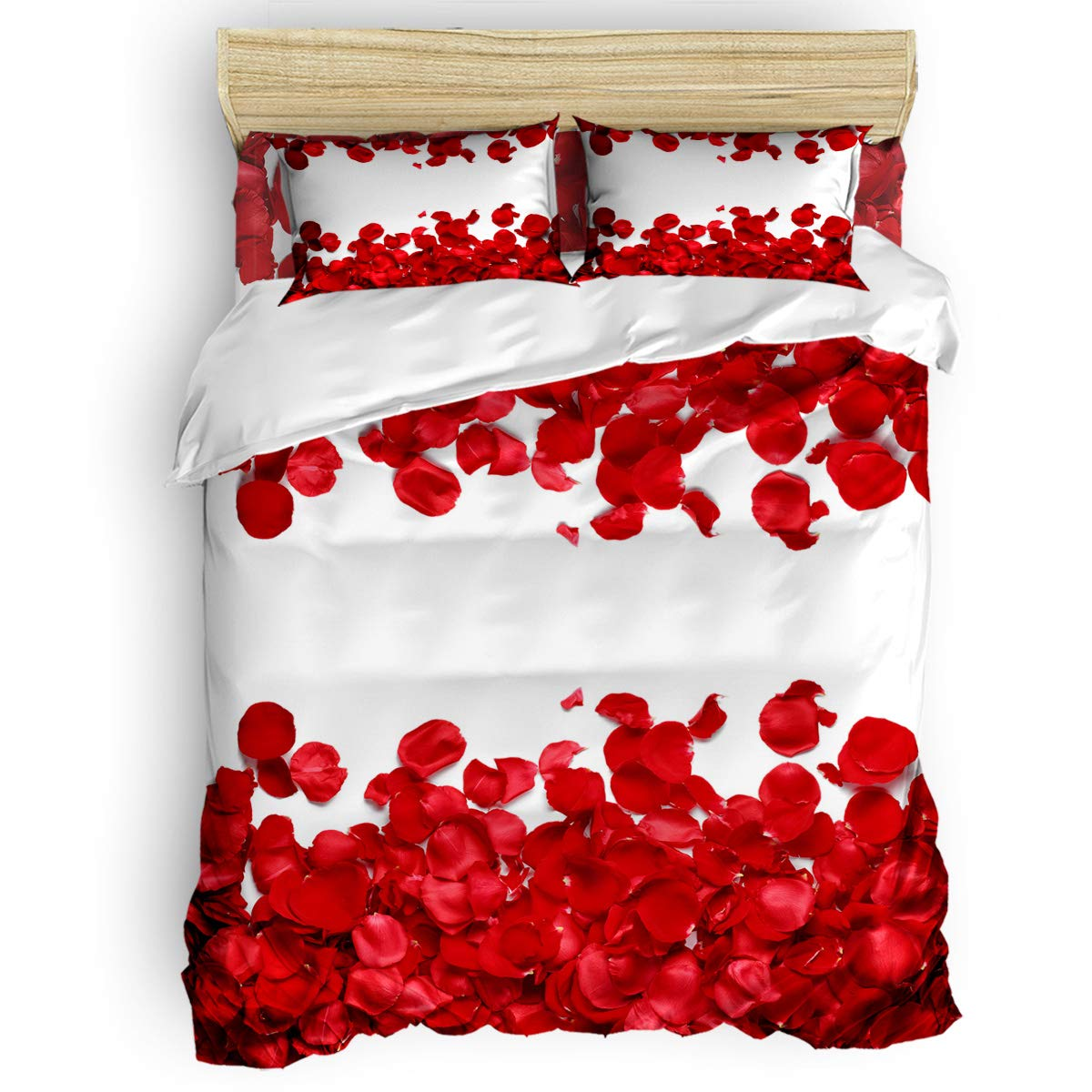 Funy Decor レッドローズ 寝具3点セット 美しい花びらプリント掛け布団カバーセット 掛け布団カバー1枚 枕カバー2枚 子供/子供/ティーン/大人用 クイーン JM-20190319-SJTGDUYSWTQ02024SJTCTBD B07Q2T72ZM Valentines Red Rose Petal6246-3 Pcs クイーン