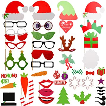 ZOGIN Navidad Kit de Accesorios Photocalls Máscaras Disfrazadas de ...