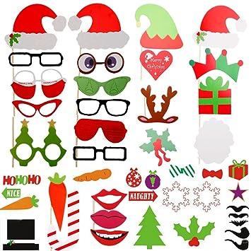 ZOGIN Navidad Kit de Accesorios Photocalls Máscaras Disfrazadas de Mascarada con Bigotes, Labios, Corbatas, Gafas y Sombreros Para Fiesta Mascarada, ...