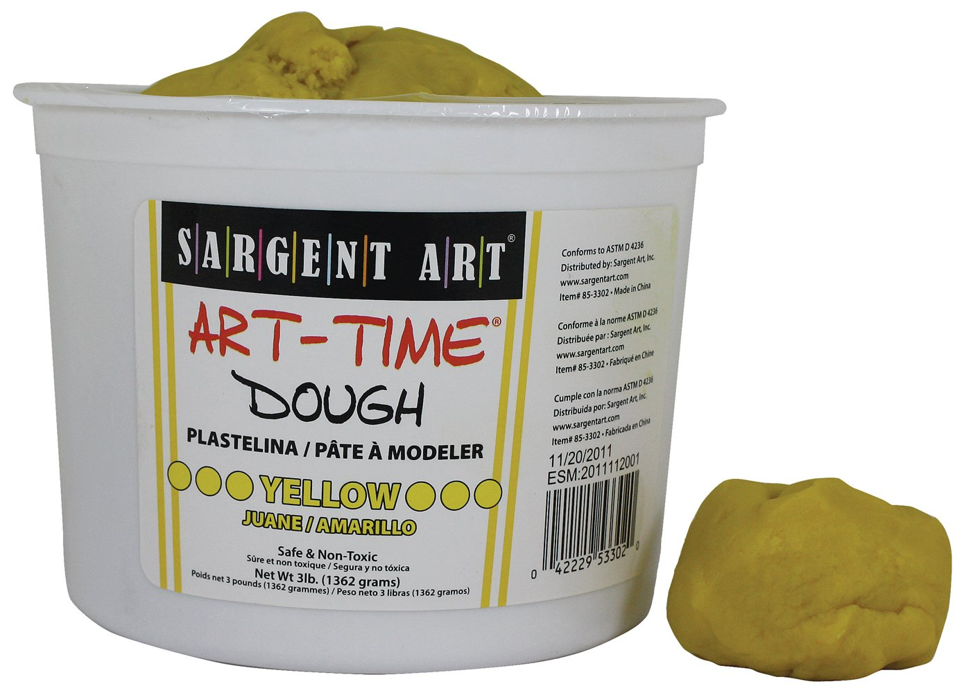 Sargent Art 85-3302 3-Pound Art-Time Dough, Yellow