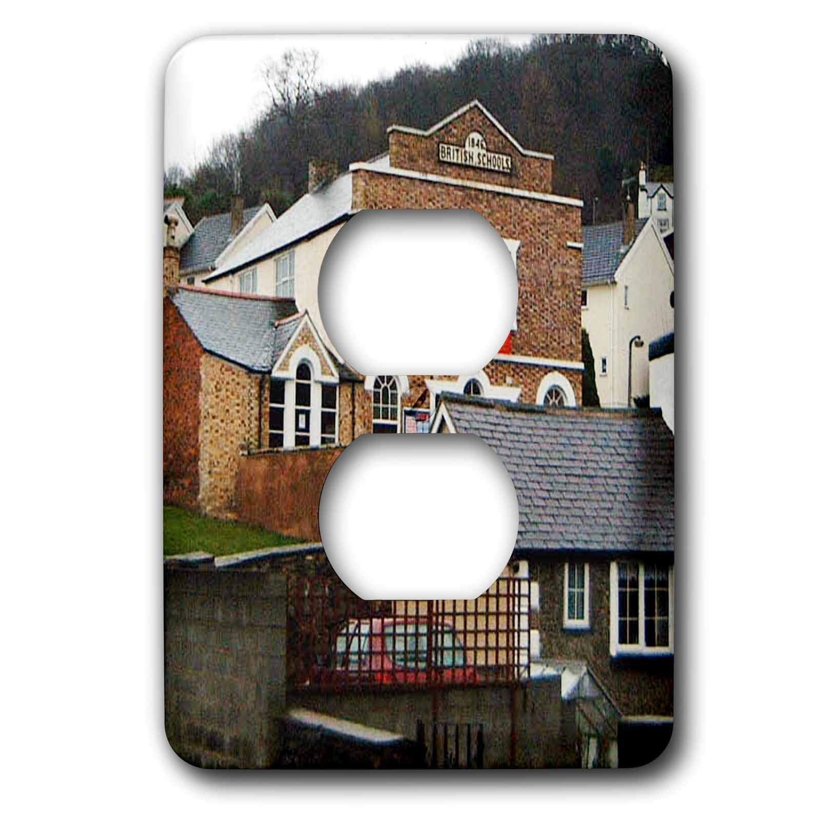 3dRose Jos Fauxtographee- llangollen Wales School Home - Some homes and a Brittish School in Llangollen Wales - Light Switch Covers - 2 plug outlet cover (lsp_294500_6)