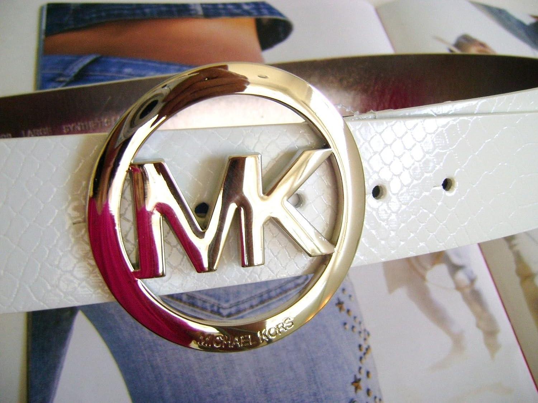 Amazon.com: michael kors MK Logo blanco cinturón de piel ...