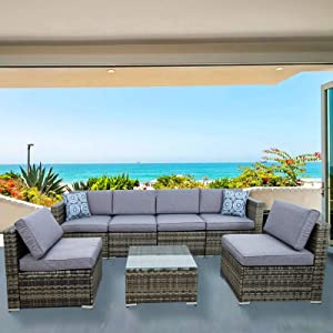 Houssem Patio Furniture Set 7 Pieces Outdoor Sectional PE Rattan Sofa Set Grey Manual Wicker Patio Conversation Set Modular Wicker Patio Furniture with Cushions and Glass Tea Table Brown
