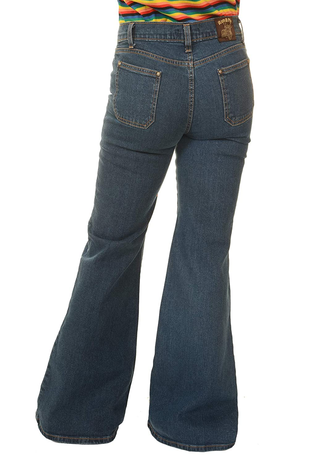 Vintage High Waisted Trousers, Sailor Pants, Jeans  60s 70s Disco New Vintage Blue Stretch Denim Wide Leg Bellbottom Hippy Flares Run & Fly Ladies Womens Retro £29.99 AT vintagedancer.com