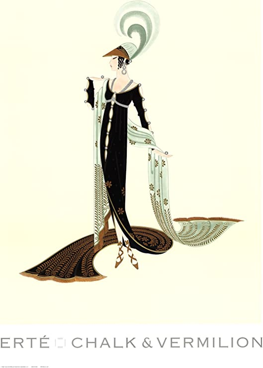 "ERTE Gala 36/"" x 26/"" Poster 1995 Art Deco Multicolor Black Gray"