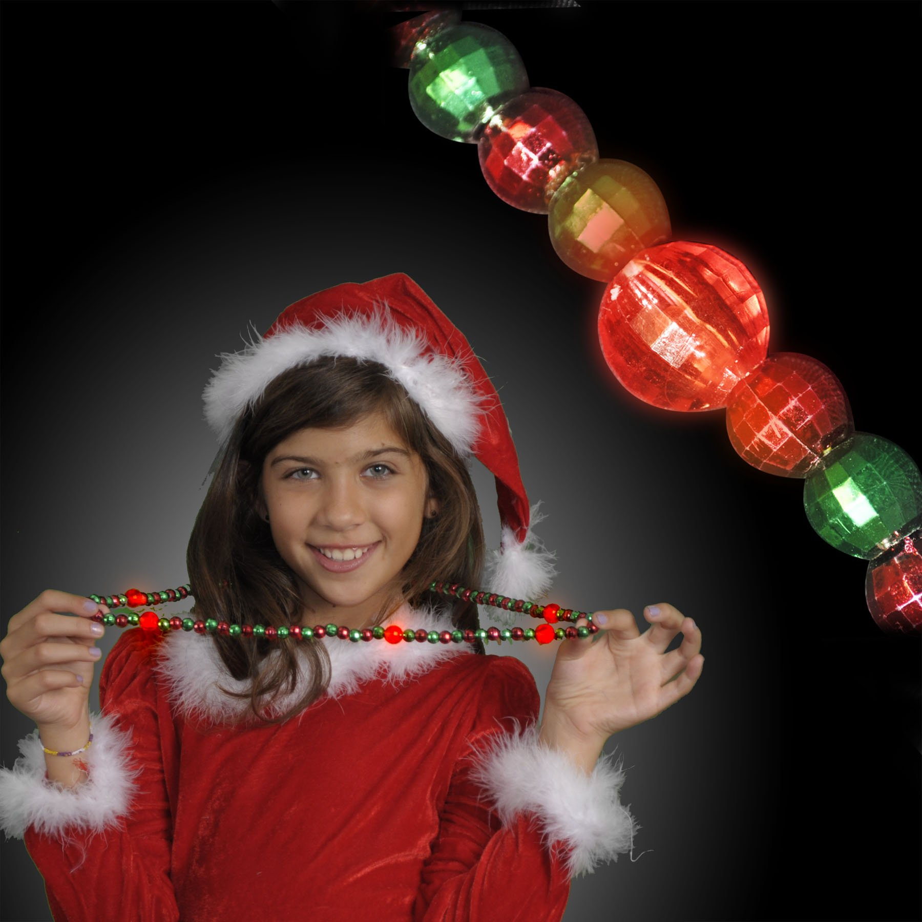 FlashingBlinkyLights Green & Red Light Up LED Bead Necklace (Set of 12)