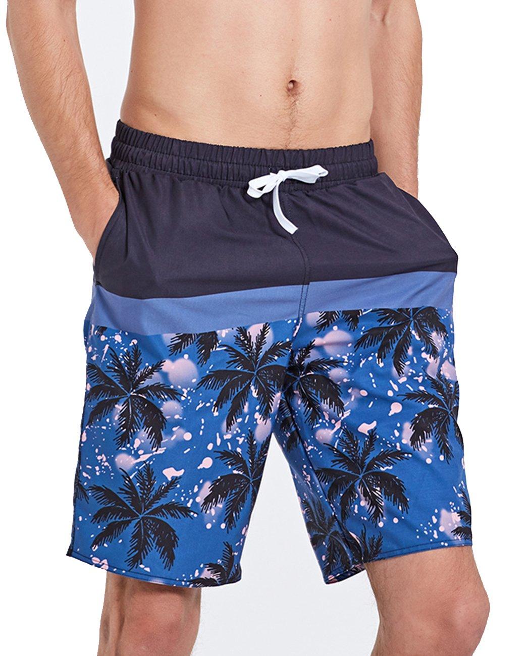 iDrawl Men's Beach Surf Shorts Printed Swim Trunk Pants Quick Dry Casual Beach Swimwear