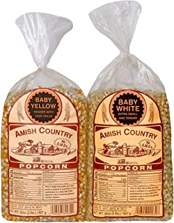 product image for Amish Country Popcorn | 2 Lb Baby White & 2 Lb Baby Yellow Kernels | Old Fashioned with Recipe Guide