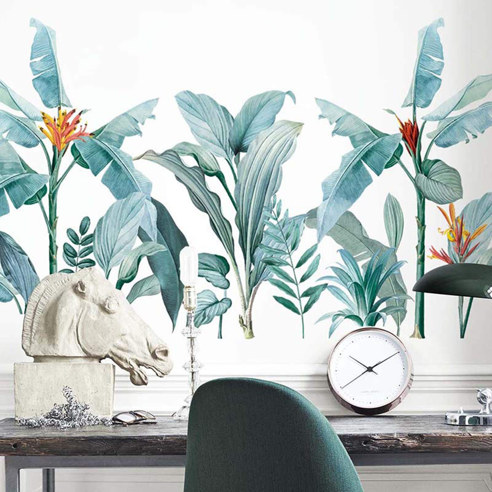 Watercolor Plants Wall Decals Tropical Leaves Wall Stickers for Bedroom, Removable Peel and Stick Wall Posters Art Murals for Living Room Nursery Office